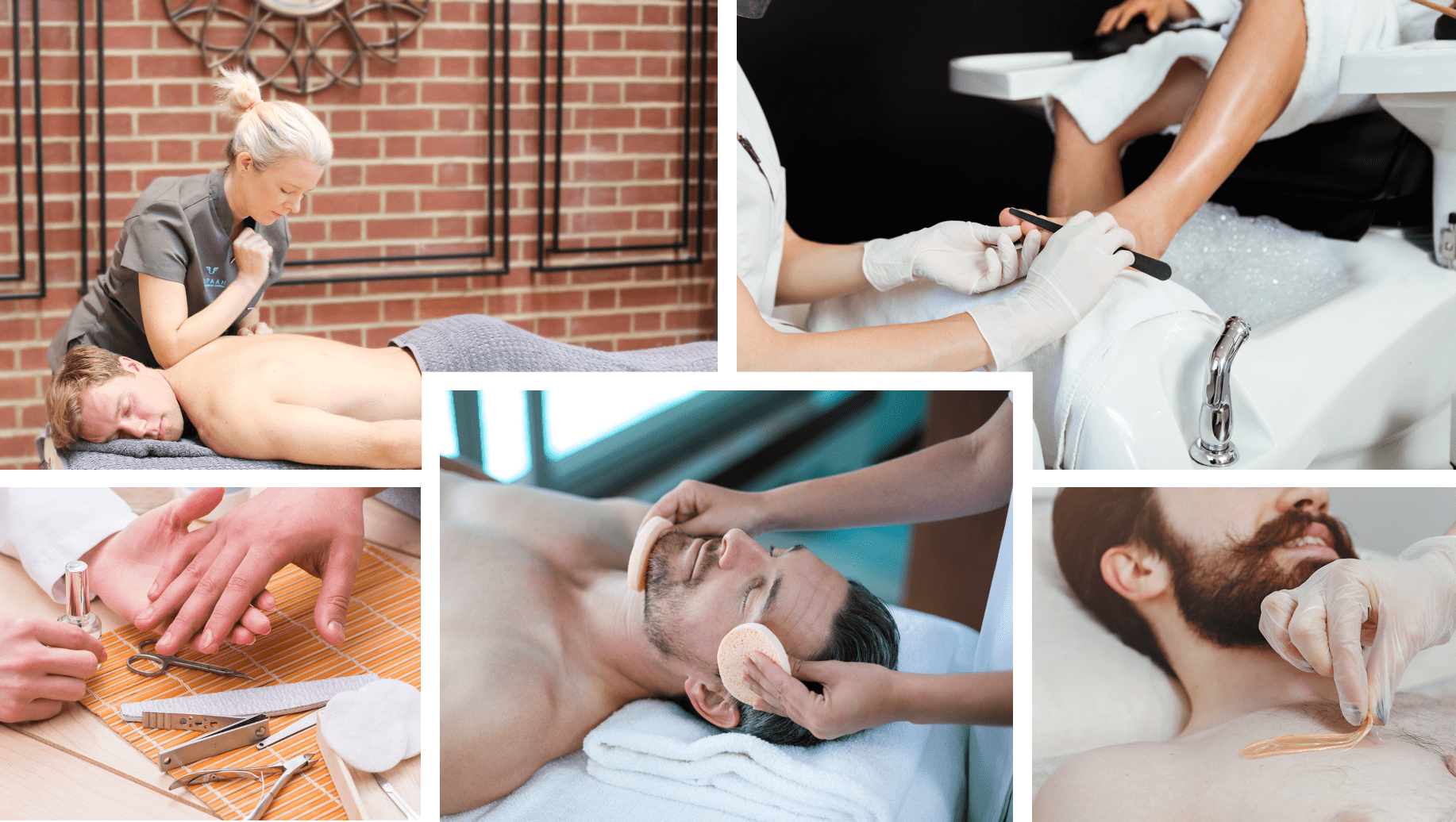 men's wellness and grooming services collage